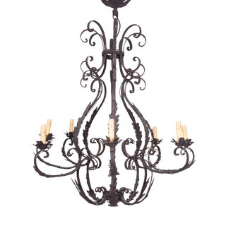 Wrought Iron Cage-Form Eight-Light Chandelier For Sale
