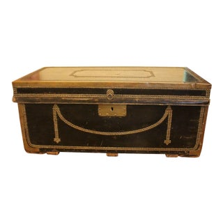 19th Century George III Nailed Leather Trunk For Sale