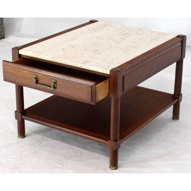 Pair of Travertine Tops One Drawer Oiled Walnut End Side Tables For Sale In New York - Image 6 of 13