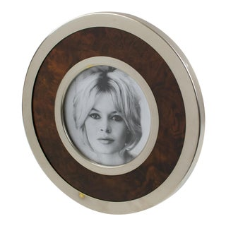 Gucci Style 1970s Silver Plate and Wood Round Picture Frame For Sale