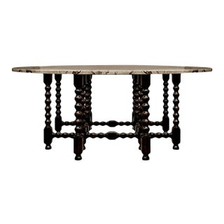20th Century Italian Wood and Marble Dining Table For Sale