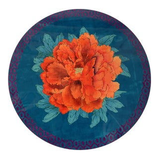 Italian Turquoise Peonie Round Placemat For Sale