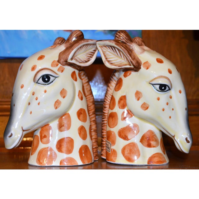 Yellow Vintage Fitz & Floyd Porcelain Giraffe Bookends - A Pair For Sale - Image 8 of 11