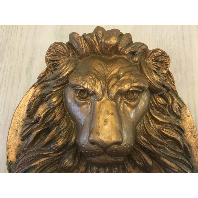 Lion Head Wall Sculpture For Sale - Image 4 of 7