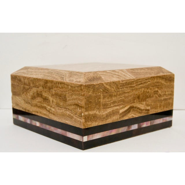 Maitland - Smith Tessellated Marble and Abalone Mother of Pearl Box by Maitland-Smith For Sale - Image 4 of 9