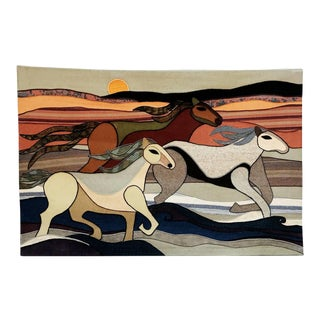 Limited Edition Wild Horses Tapestry by Helen Webber Dated 1979 For Sale