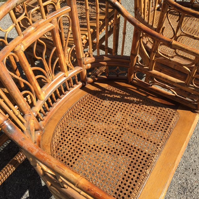 1970s Vintage Brighton Pavilion Bamboo, Ratan and Cane Chairs- Set of 4 For Sale - Image 6 of 13