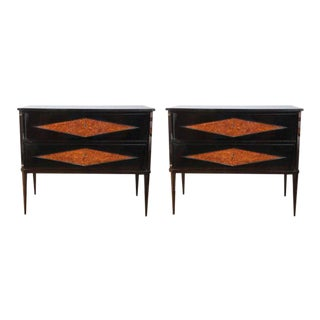 Pair of Decorative Neoclassical Black Lacquered Chests