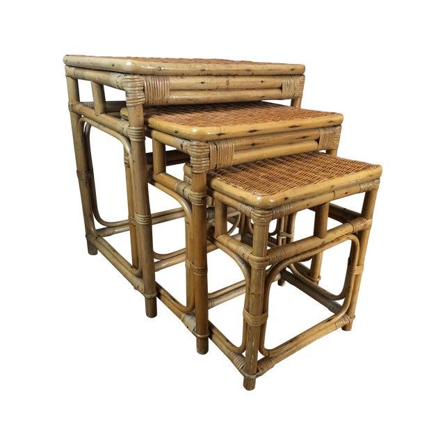 Vintage Rattan Nesting Tables - Set of 3 For Sale