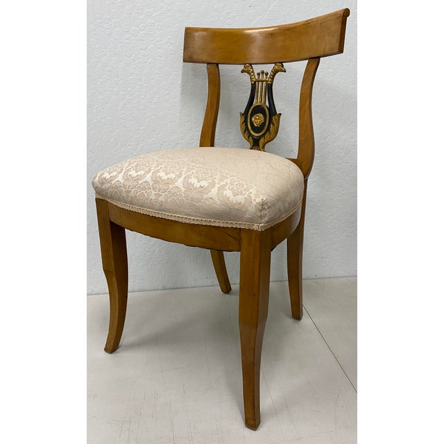 Biedermeier Pair of 19th Century Biedermeier Lyre Back Dining Chairs For Sale - Image 3 of 13