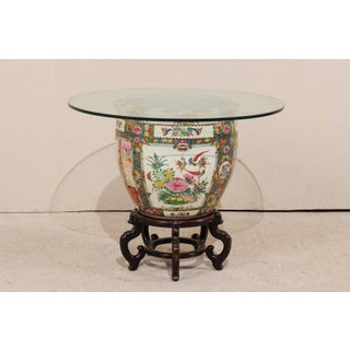 Chinese Famille Rose Ornately Decorated Porcelain, Glass and Wood Round Table Preview