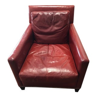 Modern Lee Red Leather Chair For Sale