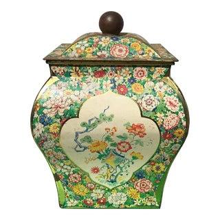 Vintage Dutch Floral Print Tea Tin