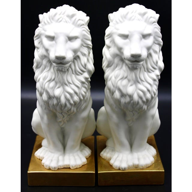 White Italian Mottahedeh Ceramic Mantle Lions - a Pair For Sale - Image 8 of 13
