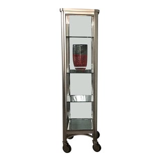 Ethan Allen Radius Collection Brushed Nickel Curio Cabinet For Sale
