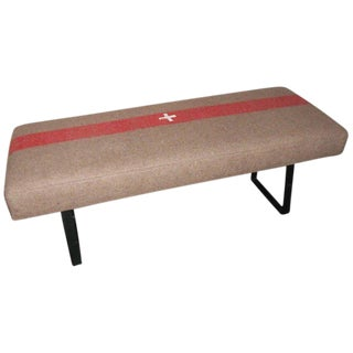 1940s Swiss Army Blanket as Padded Bench With Steel Legs For Sale