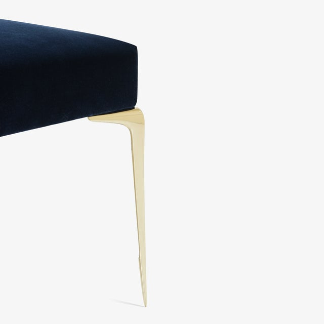 Not Yet Made - Made To Order Colette Petite Brass Ottomans in Navy Velvet by Montage, Pair For Sale - Image 5 of 8