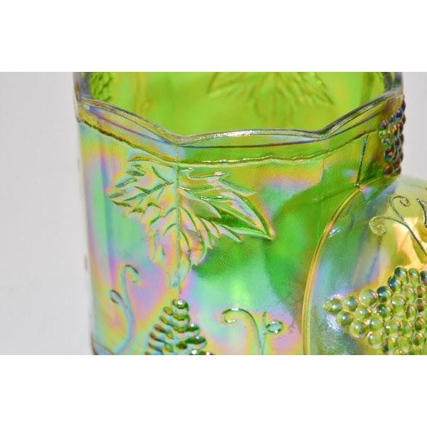 Art Nouveau Lidded Iridescent Lime Green, Orange and Blue Carnival Glass Canisters - Set of 3 For Sale - Image 3 of 13