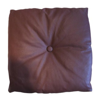 Italian Arflex Leather Decorative Pillow With Button For Sale