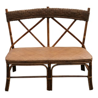 Vintage Ratten Bench With Back For Sale