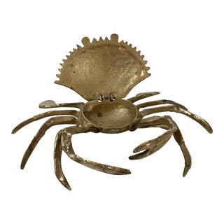 20th Century Figurative Brass Crab Trinket Box For Sale