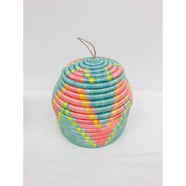 Pink/Yellow & Blue/Pink African Artisan Baskets - A Pair - Image 3 of 11