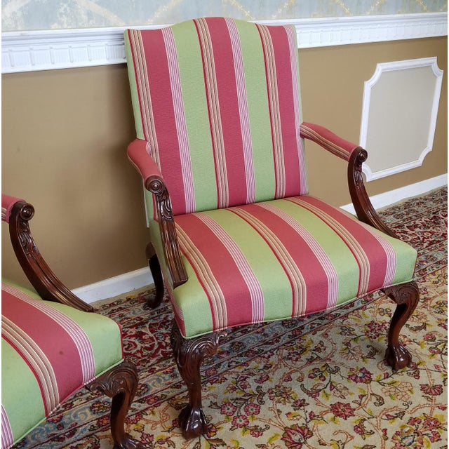 Hickory Furniture Martha Washington Mahogany Chippendale Style Southwood Furniture Gainsborough Armchairs - A Pair For Sale - Image 4 of 10