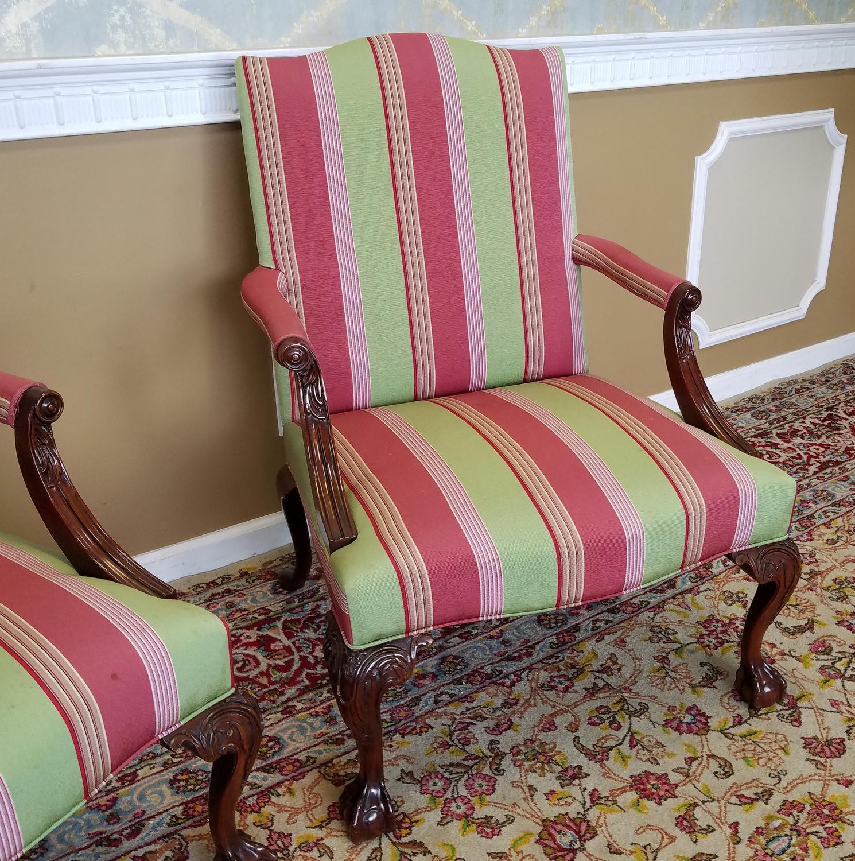 Martha Washington Mahogany Chippendale Style Southwood Furniture  Gainsborough Armchairs   A Pair   Image 4 Of