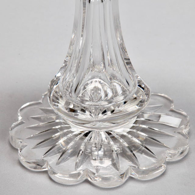 Antique Hand Cut Crystal Tazza With Etched Design and Scalloped Rim For Sale - Image 4 of 6