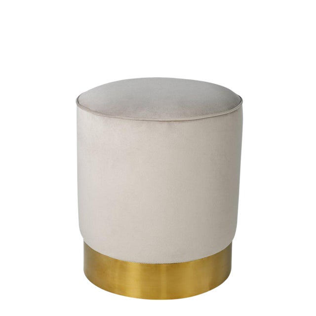 Contemporary Gray & Gold Stool - Image 1 of 3