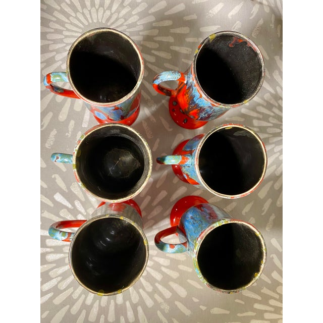 1970s Vintage Hand-Crafted Blue & Red Drip Glaze Ceramic Pottery Footed Mugs- Set of 6 For Sale In Saint Louis - Image 6 of 8