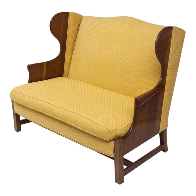 Original 1970s Stickley Love Seat in Yellow Fabric - Image 1 of 4