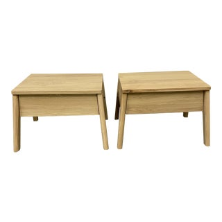 Ethnicraft Oak Nightstands + Drawer - a Pair For Sale