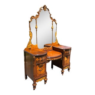 Antique Victorian Heavily Carved Burl Walnut Vanity For Sale