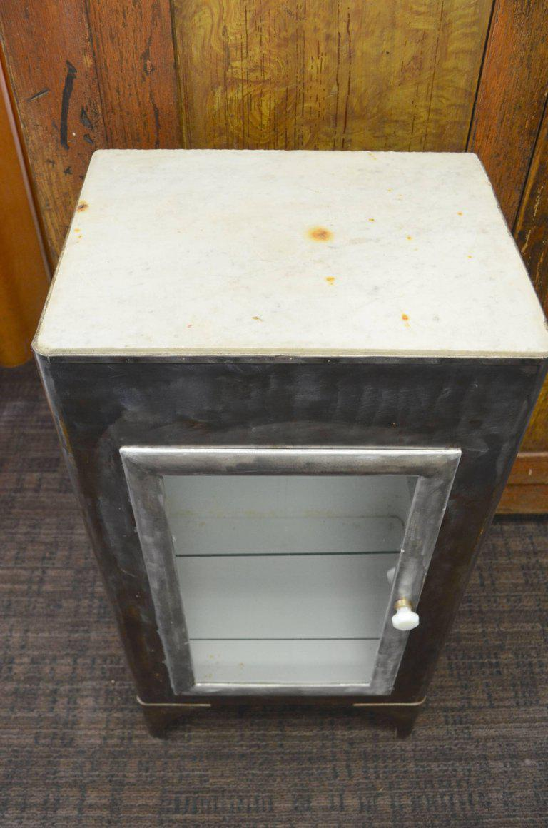 Storage Apothecary Cabinet From Early 20th Century Has Marble Top And Glass  Door For Sale