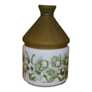 French Honey Pot Milk Glass with Green Floral Design and Brown Plastic Lid For Sale