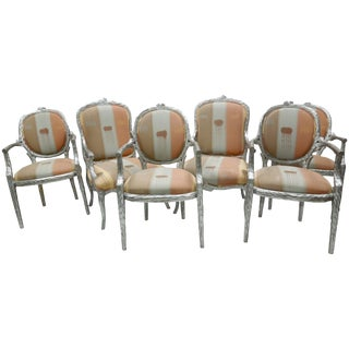Set of Six Silver Leaf 1980s Vintage Faux Bois Twig Dining Chairs For Sale