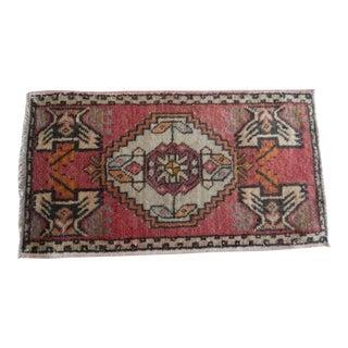 Vintage Mid-Century Turkish Oushak Rug Low Pile Yastik Rug Mat For Sale