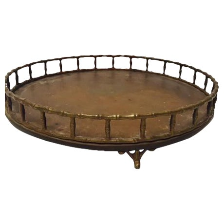 Boho Chic Bamboo Edge Brass Tray - Image 1 of 5