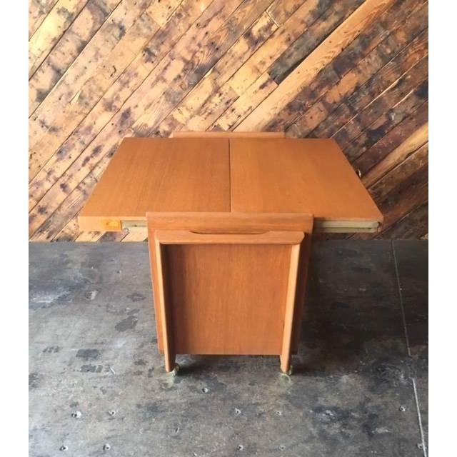 Vintage Brown Saltman Cocktail Cart Table - Image 6 of 8