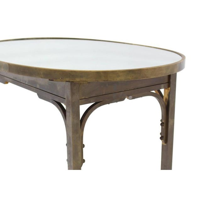 Early 20th Century Solid Brass Mirror Top Oval Hall or Side Table For Sale - Image 5 of 7