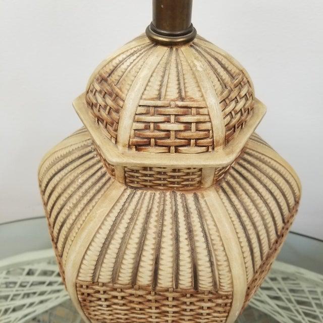 Boho Chic Frederick Cooper Palm Beach Regency Faux Basket Weave Ginger Jar Lamp For Sale - Image 3 of 6