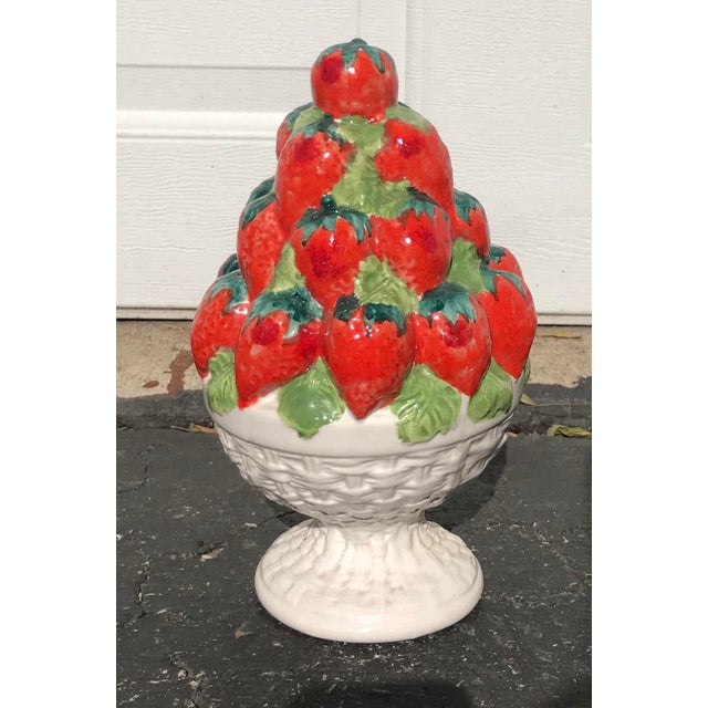 1960s Italian Ceramic Strawberry Topiary For Sale - Image 5 of 5