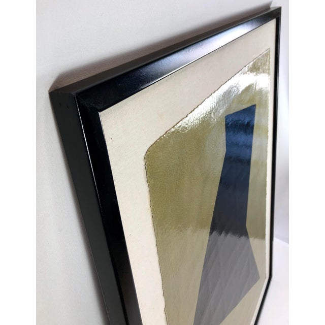 Original framed mixed media art depicting a solid deep black shape against a heavyweight textured paper with a metallic...