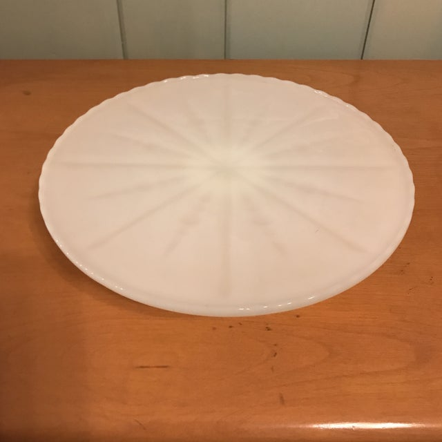 White Milk Glass Cake Stand For Sale - Image 10 of 11