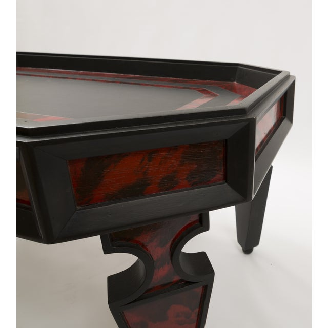 Custom Coffee Table in Faux Painted Tortoise Shell in Red and Black Color For Sale In Nashville - Image 6 of 8