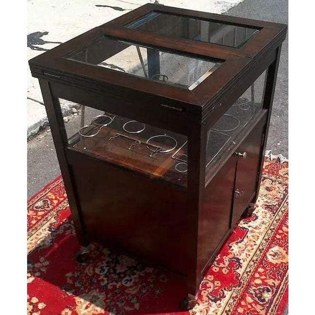Wood Vintage Bar Cart With Pop Up Center and Beveled Glass For Sale - Image 7 of 11