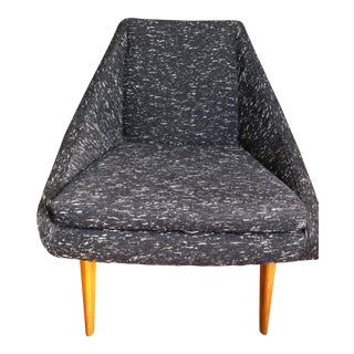 West Elm Blue Wing Chair For Sale
