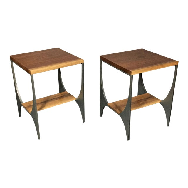 "Richard Velloso ""Curves of Grace"" Black Walnut & Steel Side Tables For Sale"