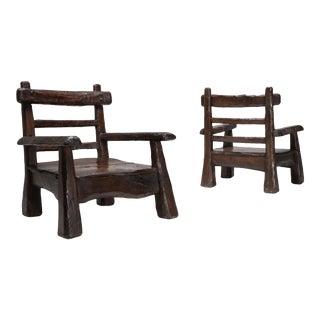 Wabi Sabi Rustic Lounge Chairs in Pine For Sale